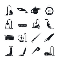 vacuum cleaner washing icons set simple style vector image