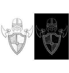 Viking warrior set - shield axes and helmet hand vector