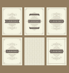 vintage ornament greeting cards set templates vector image