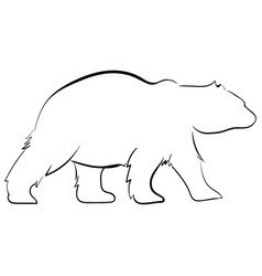 Walking bear silhouettes style line art vector