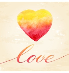 Watercolor heart for greeting card vector image