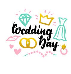 wedding day handwritten postcard vector image