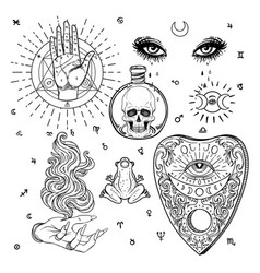Witchcraft set isolated vector