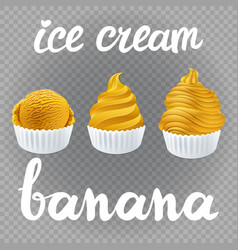 yellow set of ice cream scoops poster design with vector image
