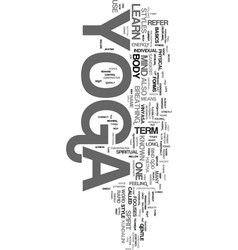 yoga learn text word cloud concept vector image