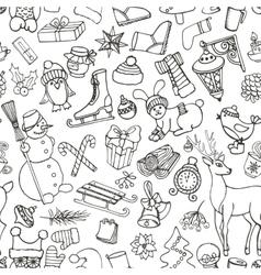 Christmas seasonDoodle symbolsSeamless pattern vector image vector image