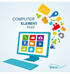 computer display keyboard icon vector image vector image