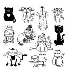 Cute cats sketch vector image