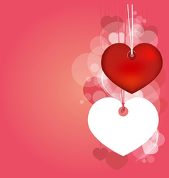 Hanging hearts with love blank page vector image vector image