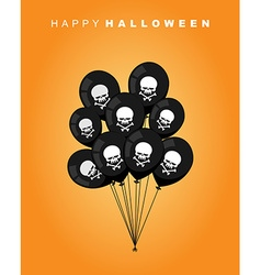 Happy Halloween Black balloon with skull and bones vector image vector image
