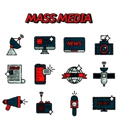 Mass media flat icons set vector