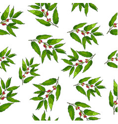 seamless pattern with hand drawn coffee vector image vector image