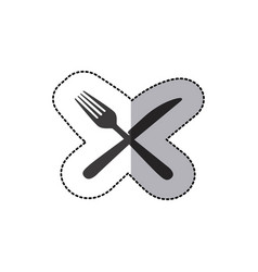 Sticker silhouette knife and fork icon vector