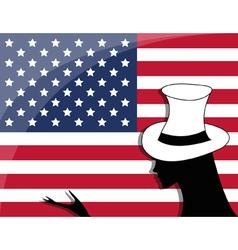 American flag and a girl vector image vector image