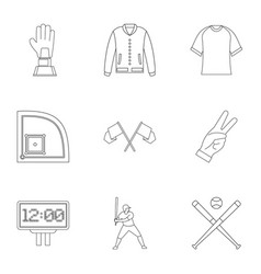 baseball tournament icons set outline style vector image vector image