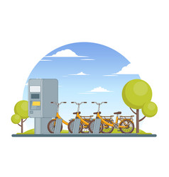 colorful bike parking concept vector image vector image