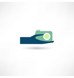 hand and the camera icon vector image