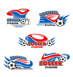 icons of soccer or football arena stadium vector image vector image