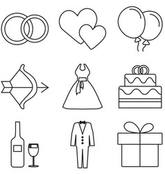 love and wedding icon set vector image