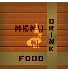 menu on wooden background with tape vector image vector image