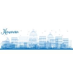 Outline havana skyline with blue buildings vector