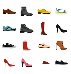 Shoe icons set in flat style vector image