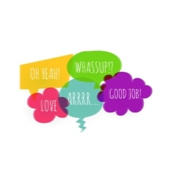 Text colorful speech bubble icons glitch style vector