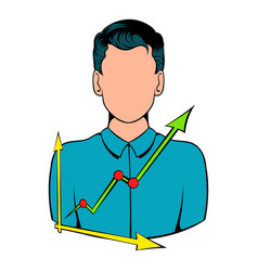 businessman and graph icon cartoon vector image vector image