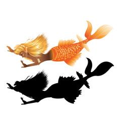 gold fish tail mermaid vector image vector image