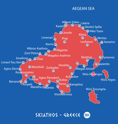 island of skiathos in greece red map vector image vector image
