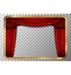 Retro golden frame with red curtain vector image vector image