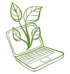 A green laptop with an image of a green plant vector image