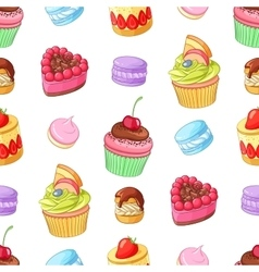 Assorted colorful desserts cupcakes and macaroons vector image