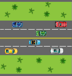 isolated road and automobile top view vector image
