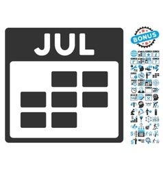 July Calendar Page Flat Icon With Bonus vector image