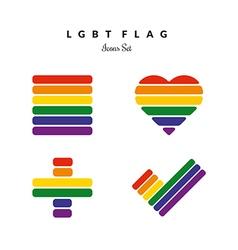 LGBT Pride Flag Rainbow Icons Set vector image