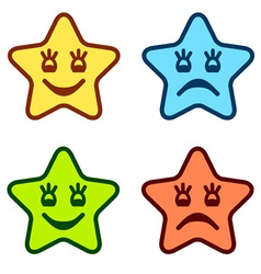 positive and negative faces of stars vector image