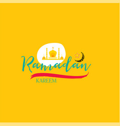 Ramadan kareem - handmade template isolated vector