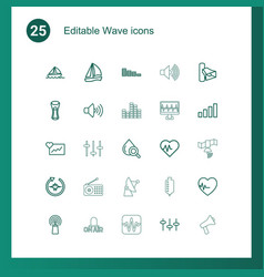 25 wave icons vector