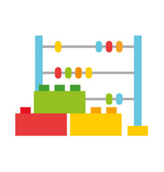 Abacus and costruction blocks toys kids vector