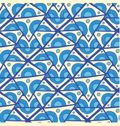 abstract triangle seamless pattern blue doodle vector image