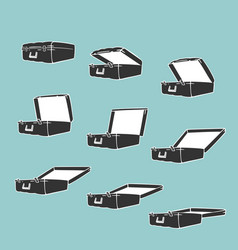 Animation frames opens suitcase vector