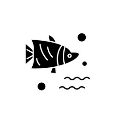 aquarium fish black icon sign on isolated vector image