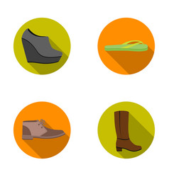 Autumn black shoes on a high platform flip-flops vector