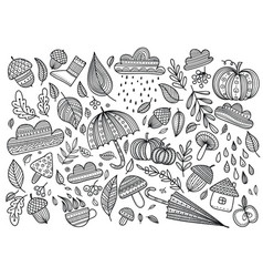autumn coloring page vector image