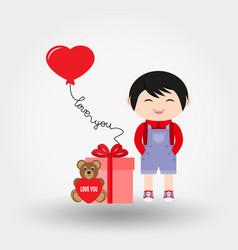 baby boy valentine s day icon flat vector image