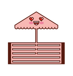 beach umbrella kawaii character vector image