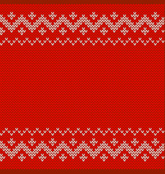 beautiful knitted red jacquard seamless pattern vector image