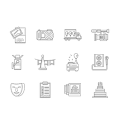 Black flat line party icons collection vector image