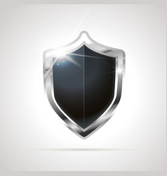 bright metal silver glossy shield with black blank vector image